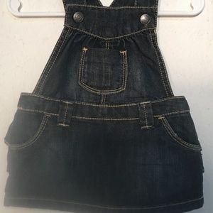 Old Navy Denim Ruffle Skirt Overalls Size 3 - 6 Mo